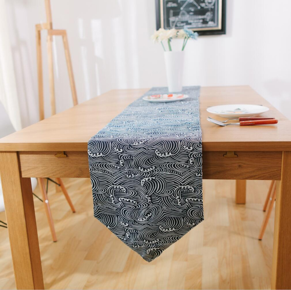 Superieur Doreen Box Japanese Style Sea Wave Print Cotton Cloth Irregular Table Runner  Tassels Table Decoration Accessories Home Textiles In Table Runners From  Home ...