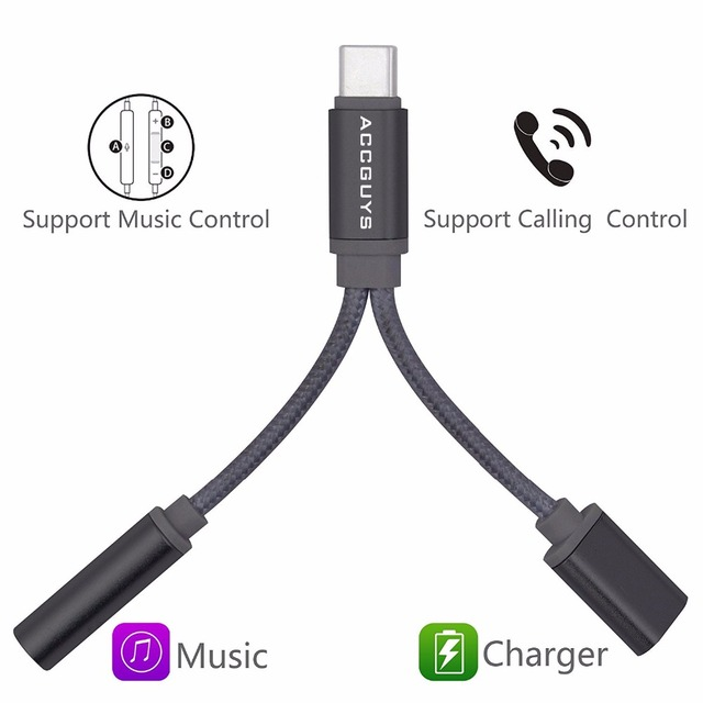 ACCGUYS 2 In 1 USB C Cable Type To 35mm Headphone Jack Audio Charging Adapter For Xiaomi Mi6 Moto Huawei Mate 10 Pro P20