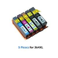 XiongCai 5 Adet için Uyumlu Mürekkep Kartuşları HP364 364 364XL için hp photosmart 5520 6510 6520 7510 B109 B110 B209 C310 c410|ink cartridge|hp 364 ink cartridgehp 5520 printer cartridges -
