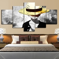 5 Piece HD Wall Art Anime Poster Picture One Piece Monkey D. Luffy Poster Wall Painting for Home Decor 1