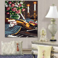 DIY Oil Painting By Numbers Flowers And Violin Framed Canvers Oil Painting Digital Paint By Numbers