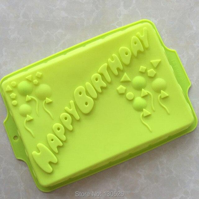Moule à gâteau en silicone pour pâtisserie   Grand rectangle, moule de joyeux anniversaire, forme de cuisson pour gâteau de boulangerie, outils de décoration de gâteaux, accessoires de cuisine