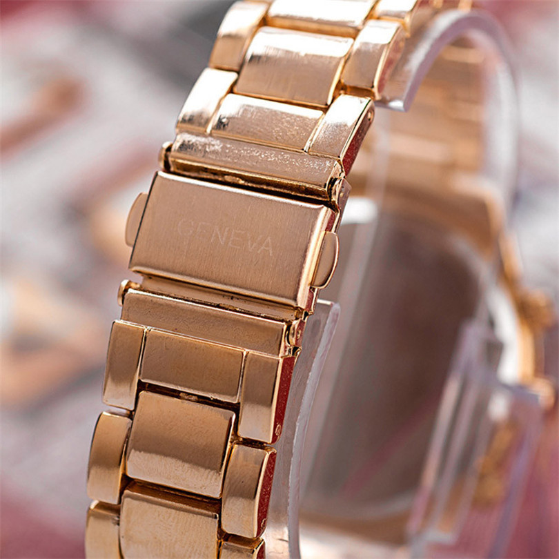 Watches Women Ladies Stainless-Steel Gold Fashion Quartz Crystal New