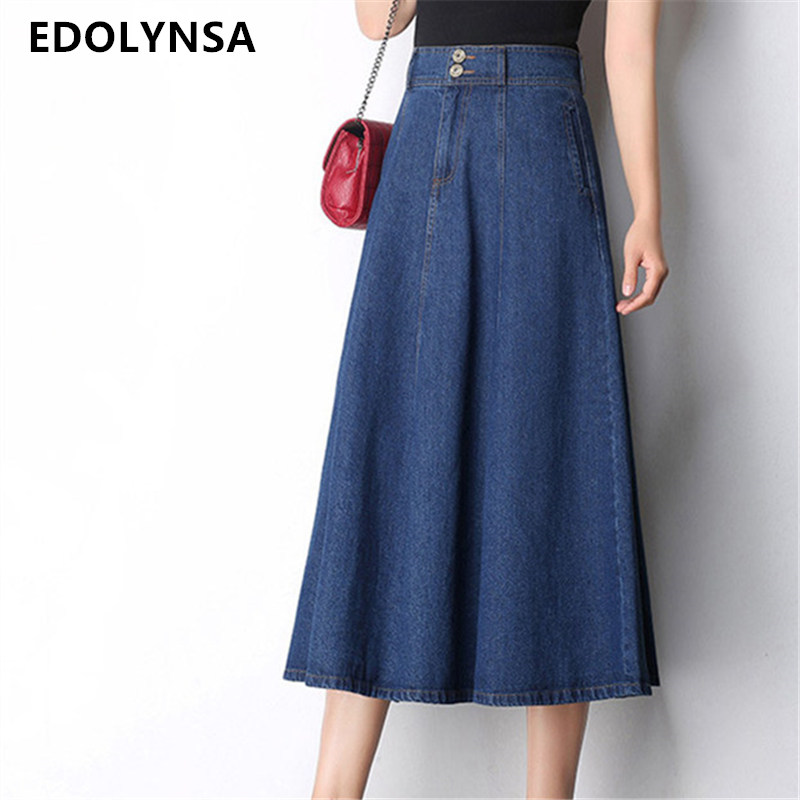 Women Cotton Long Denim Skirt With Pockets 2017 Casual Vintage High Waist Denim Maxi Skirts ...