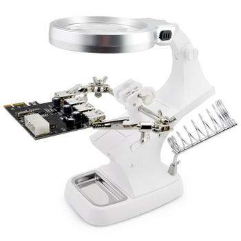 3X4.5X Welding LED lupa Magnifier magnifying glass Alligator Clip Holder Clamp Helping Hand soldering iron Repair Mgnifying Tool