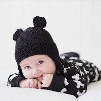 1 pçs chapéu do bebê bonito orelhas tampas crianças quente inverno crochê chapéu do bebê crianças criança lã hairball tricô gorro bb0164