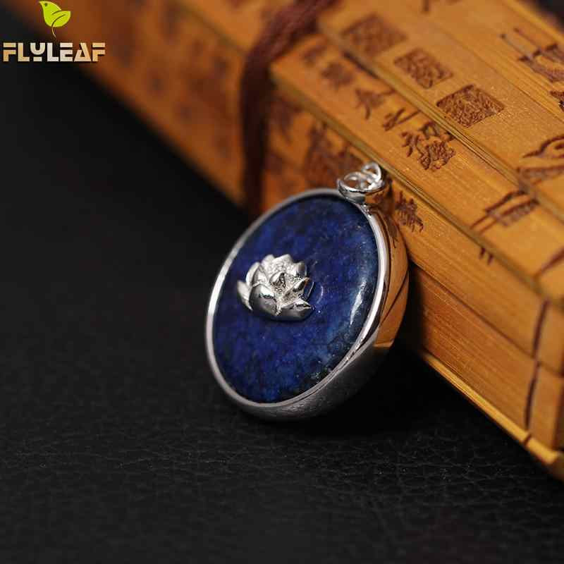 Flyleaf 925 เงินสเตอร์ลิงสไตล์จีน Lapis Lazuli Lotus ดอกไม้สร้อยคอและจี้สำหรับผู้หญิง Lady Sterling - เงิน - เครื่องประดับ