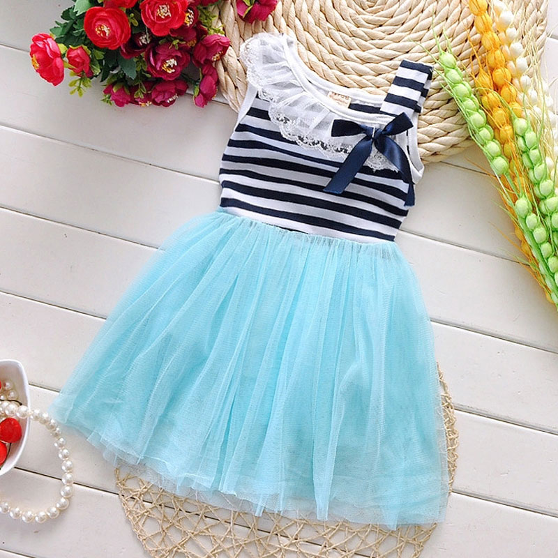 Infant Baby clothes lace stripe dress girl costume for summer toddler girl baby clothing brand party princess tutu dresses dress summer child clothes baby girl lace dress off the shoulder dresses children clothing kids princess dress for party flower girl