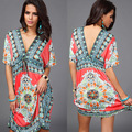 Deep V-neck sexy batwing sleeves tunic dress boho beach loose dress Ethnic Plus Size Robe free shipping