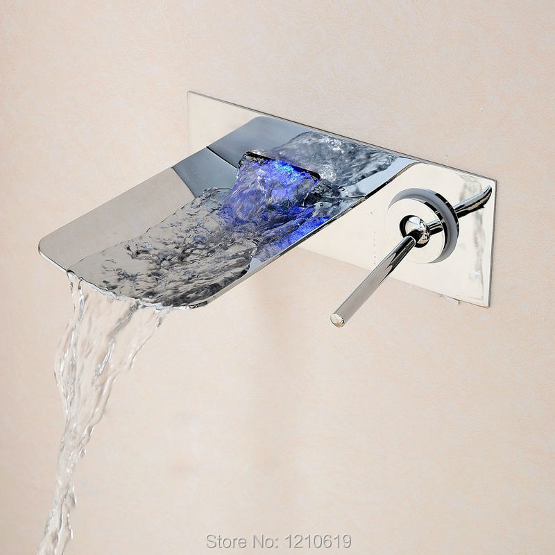 ФОТО New Arrival Contemporary Waterfall Basin Sink Faucet LED Color Changing Mixer Tap Wall Mounted