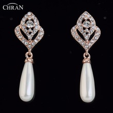 Здесь можно купить  CHRAN Fashion Gold Color Shining Crystal Teardrop Design Simulated Pearl Dangle Earrings for Women