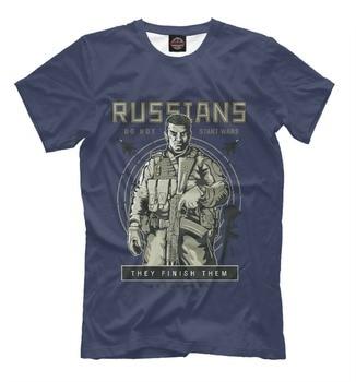 Apmnr Poccnn New T-Shirt Russians Do Not Start Wars They Finish Them 100% Quality Cotton Men Print Dress - discount item  8% OFF Tops & Tees