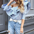 New Women Casual Basic Summer Autumn Stripe Sexy Blouse Top Shirt Falbala Off shoulder Full Sleeve Plus Size