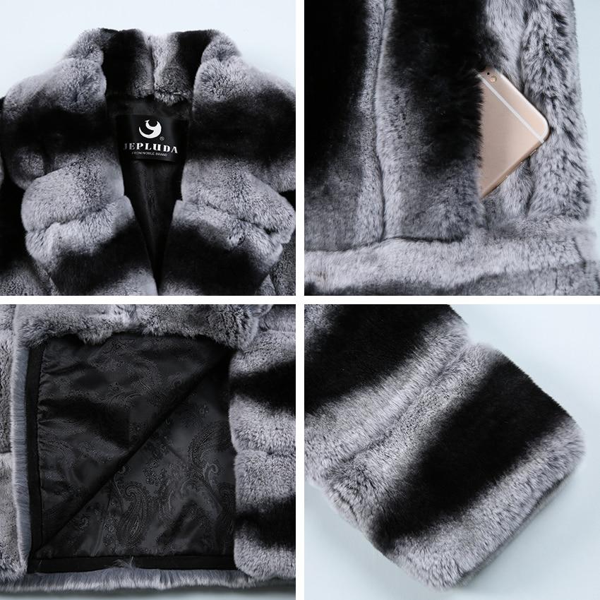 Réel Rex Manteau De Vêtements Jepluda Argent Col Fourrure Veste Femmes D'hiver Motif Élégant Costume Lapin Dernières Femme Naturel UPHnqRw4