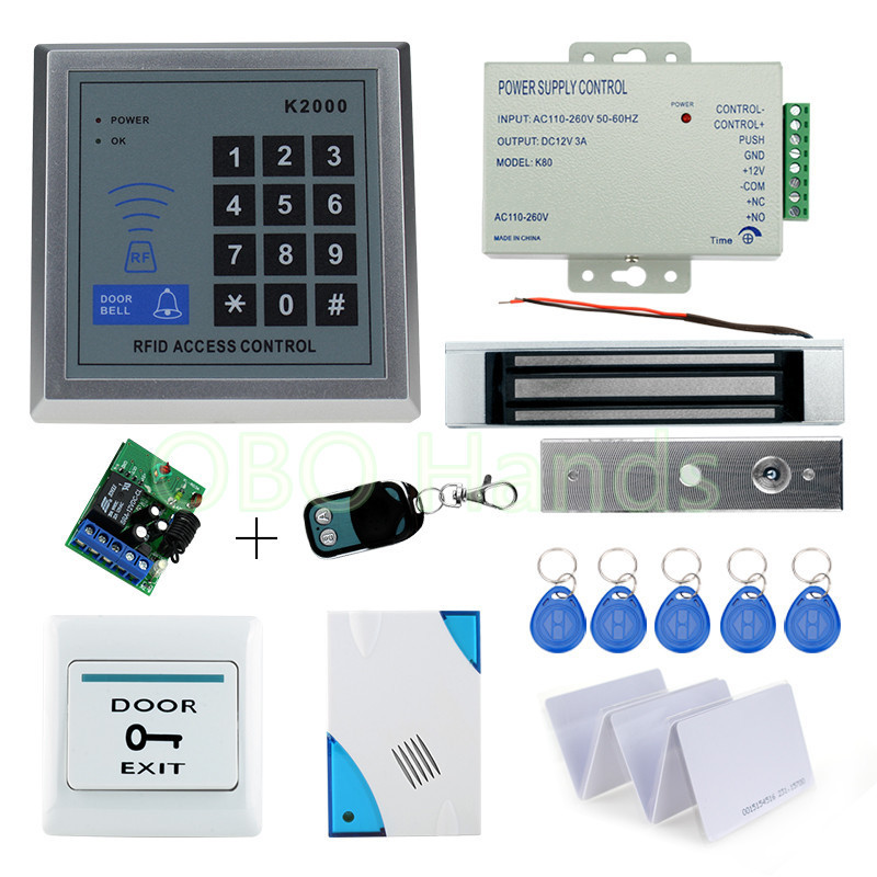 Free shipping Full RFID Access Control Lock System Kit Set with Electric Magnetic Lock+Remote+Door bell+Power+Exit+Keypad+Keys free shipping 3000 users complete access control system kit set with electric bolt lock keypad power remote door bell exit keys
