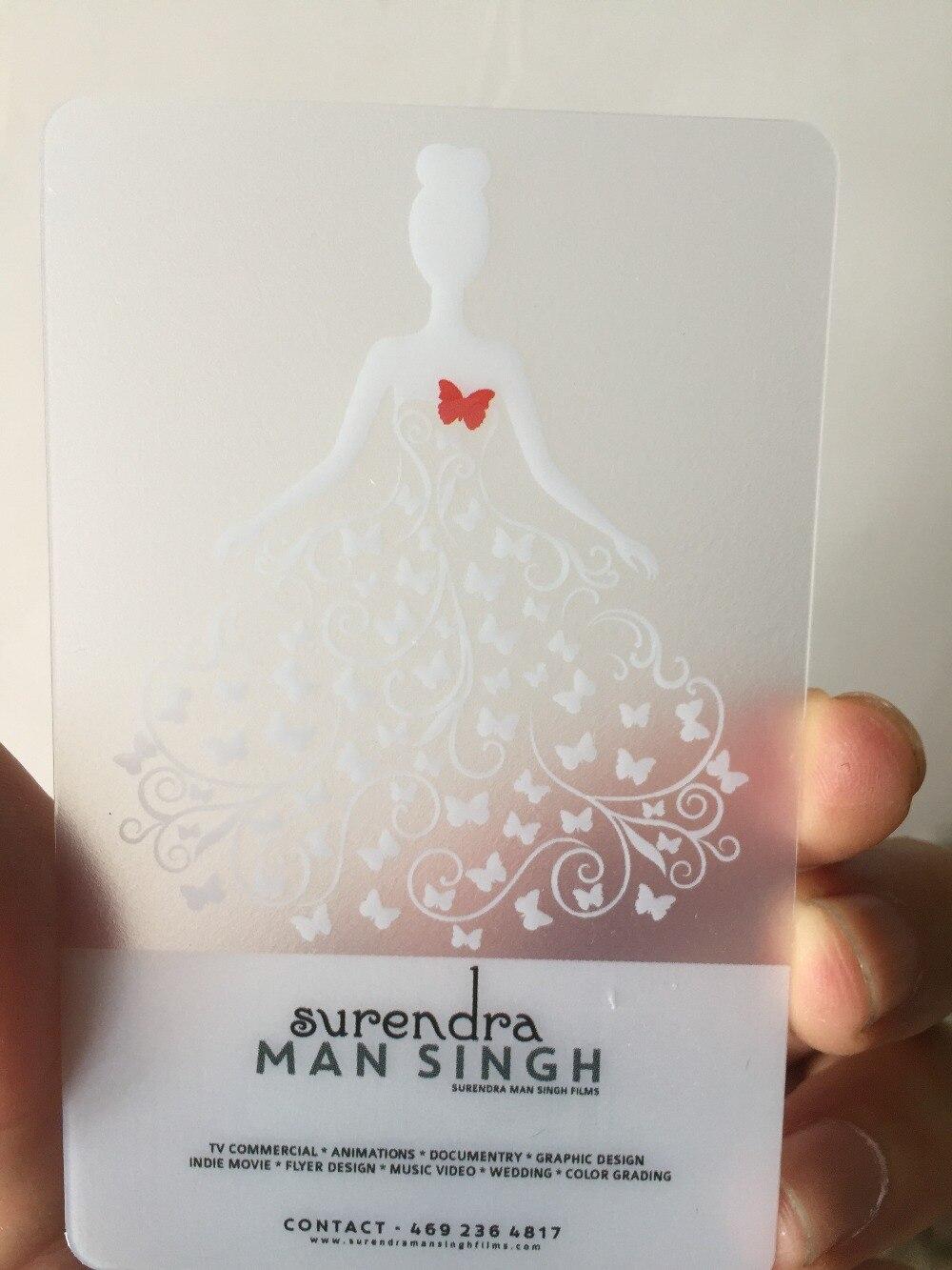 Us 23 8 15 Off Custom Visitenkarte Druck 200 Stücke 0 38mm Kunststoff Transparent Pvc Visitenkarten Eine Konfrontiert Druck Klar Gefrostet
