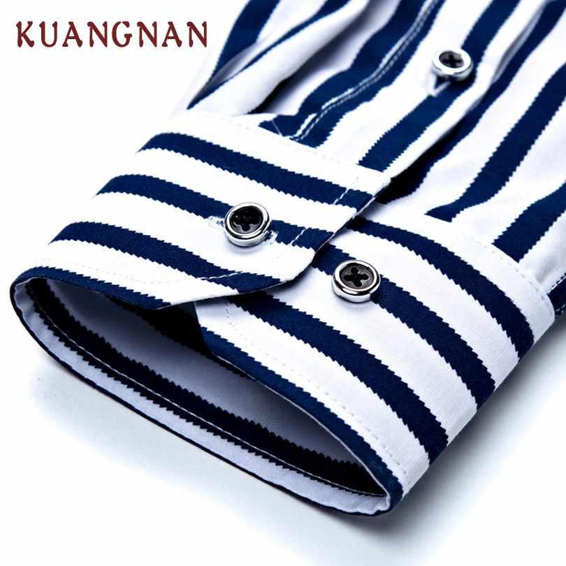 KUANGNAN ストライプスマートスリムカバーケース男性シャツ長袖カジュアルスリムフィットストリート男性のシャツの男綿のストライプのシャツ男性服 2019 新しい