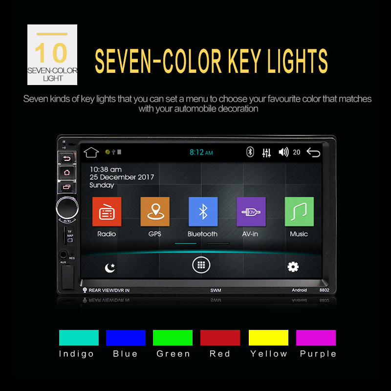 2018 Car Radio High Definition 7 Inch Touch Screen Car Bluetooth MP5 Player Car Double Spindle MP4 Navigation Integrated Machine