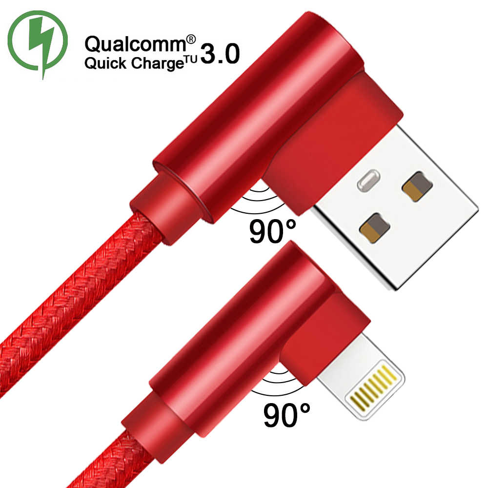 QC 3.0 Double Elbow Ponsel Usb Kabel Data Micro USB Tipe C Kabel untuk Samsung Galaxy S9 S8 PLUS kabel Charger