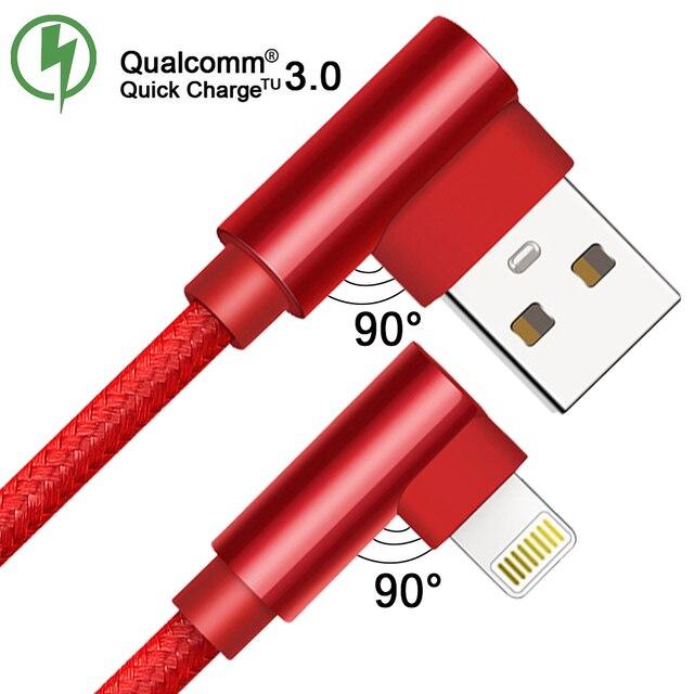 QC 3,0 doble codo teléfono móvil Cable de datos USB Cable Micro USB tipo C Cable para Samsung Galaxy S9 S8 Plus cable de cargador