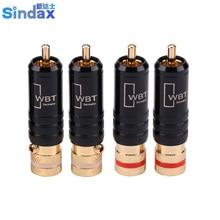 Разъемы Sindax RCA, штекеры стандартной длины, штекер сигнальной линии WBT 0144 RCA, штекер lotus head, медные разъемы RCA, 10 шт./лот