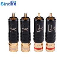 Sindax conectores RCA de amplificador, WBT 0144 macho, Conector de línea de señal WBT 0144, conector RCA de cobre con cabeza de loto, 10 unids/lote