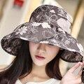 Роскошь! леди Хлопка Шляпа Солнца Женщины Шляпа Женские Летние Vintage Sunbonnet Анти-Уф Шляпа Солнца Открытый Складной Женщин Пляжные Шляпы