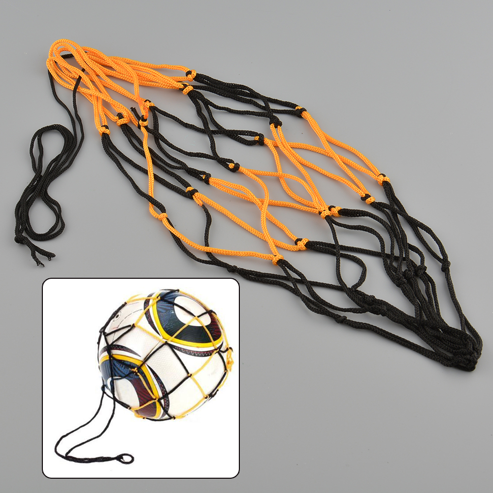Nylon Net Bag Ball Mesh Volleyball Basketball Football Game Black&Yellow Net Storage Ball Bag Convenient Taking Tools