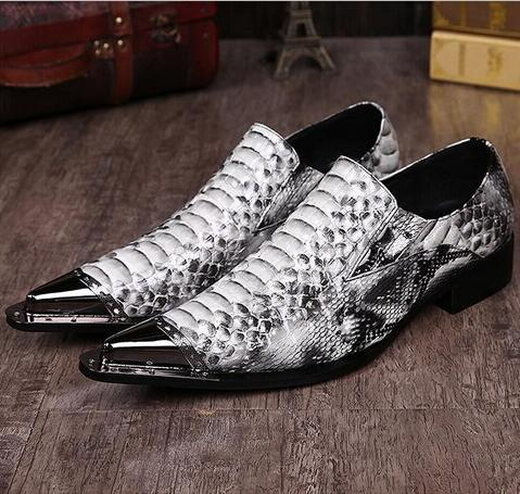 Fake Snake Skin Print Alligator Leather Shoes Men Loafers Slip On Pointed Toe Men Shoes Casual Slip On 17d50 Shoes