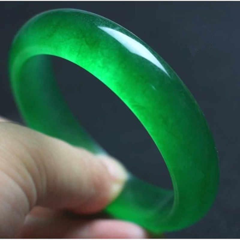 Fengashouw Authentieke Ijs Door Volledige Green Maleis Jade Steen Armband Vrouwen Van Mode Accessoires Te Sturen 66 Mm