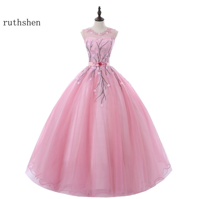 ruthshen Rose Pink Ball Gown Evening Gowns Lace Appliques Emboridery ...