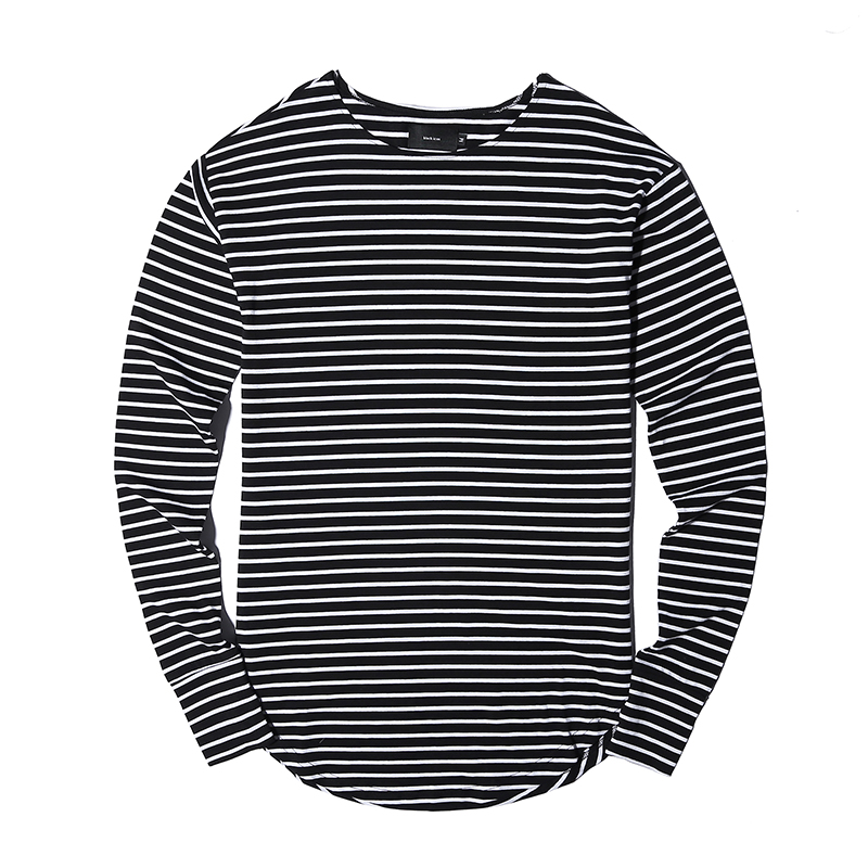 New Fashion Striped T Shirts Men Long Sleeve Arc Type Hem