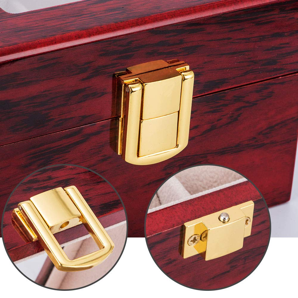 Closeout DealsWatch-Box Jewelry Organizer Glass-Top Wooden 12-Grids Luxury for Men New D40 3-5