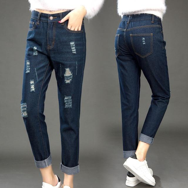 88c5c871b0c Большой размер женские джинсы женские жира мм Высокая Талия новые весенние  брюки Свободные отверстия