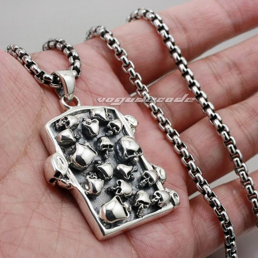 Graveyard Skull Dog Tag Solid 925 Sterling Silver Mens Biker Pendant 8C003(Necklace 24inch) solid 925 sterling silver claw skull mens biker pendant biker jewellery 8c007 necklace 24inch