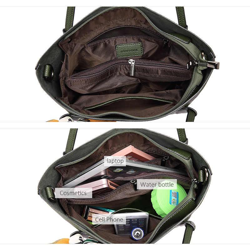 Lovevook mulheres bolsa de ombro sacos do mensageiro feminino grande capacidade senhoras ocasional tote bags alta qualidade com arcos preto