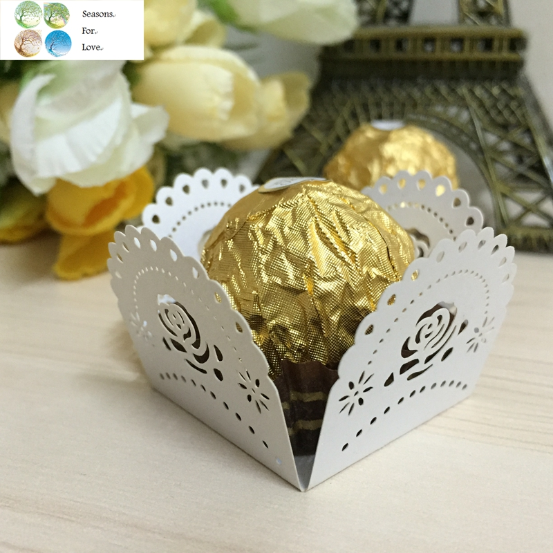 50pcs Rose Flower Cupcake Wrappers Wedding Decoration Supplies