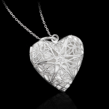 925 Sterling Silver Hollow Out Heart Photo Pendant Necklace For Women Couple Rope Link Chain Necklace Clothes Jewelry Accessory stylish rhinestone heart hollow out pendant necklace for women