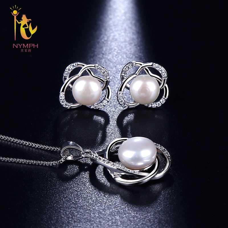 Nimfa biżuteria perłowa na ślub zestawy naturalna perła słodkowodna naszyjnik wisiorek kolczyki Fine Trendy Party prezent dziewczyna kobiety RoseT202