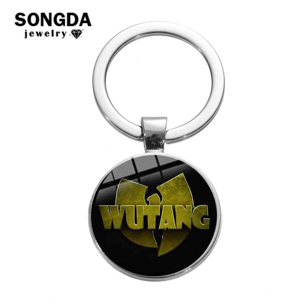 SONGDA Cool Wu-Tang Clan Logo llavero Hip Hop Rap música famosa banda motocicleta coche llavero Hipster los Fans de regalo de joyería