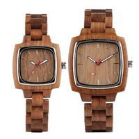 Unique Square Wooden Watch Men Bamboo Watch Lovers Retro Full Wooden Bracelet Clock Quartz Wristwatches Ideal Gift for Men Women
