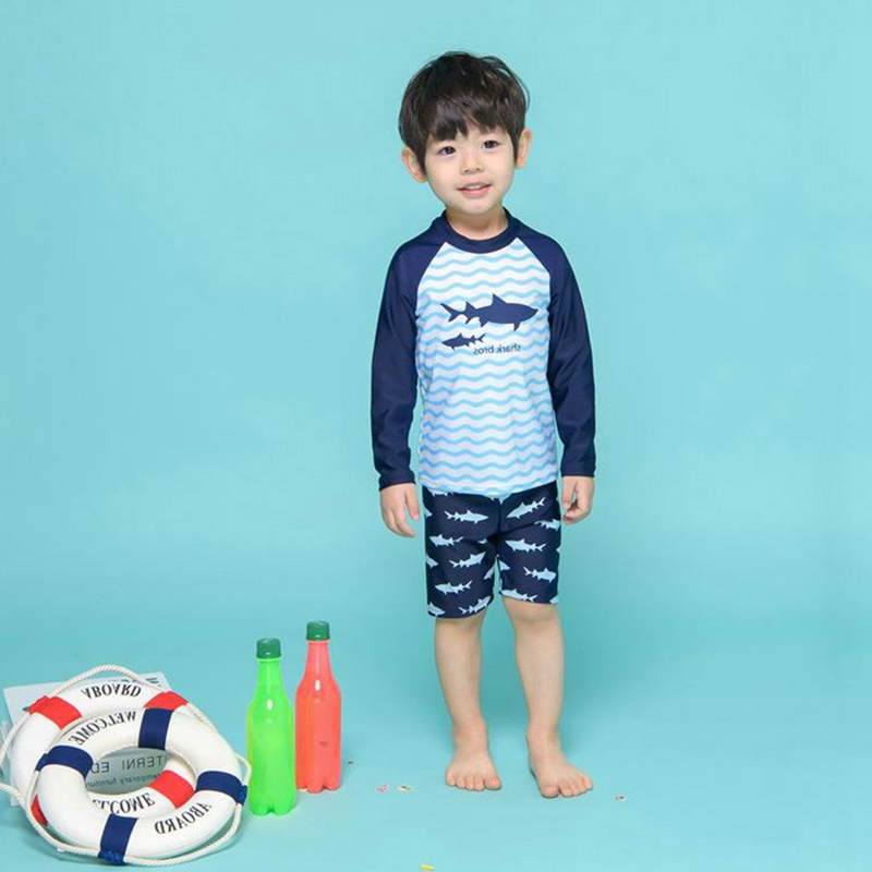 Boy Rash Guard Swimming Cap Kit Swimwear Children Kid Long Sleeve Shirt Shorts Printed Sunshade Beach Swimsuit Bathing Suit