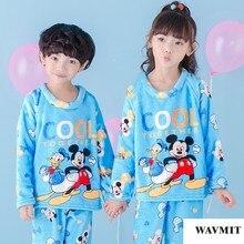 Kids Pajamas Warm Thicken Autumn Winter Flannel Pijamas Mujer Children Coral Fleece Cartoon Pajamas For Girl Boy Sleepwear Set