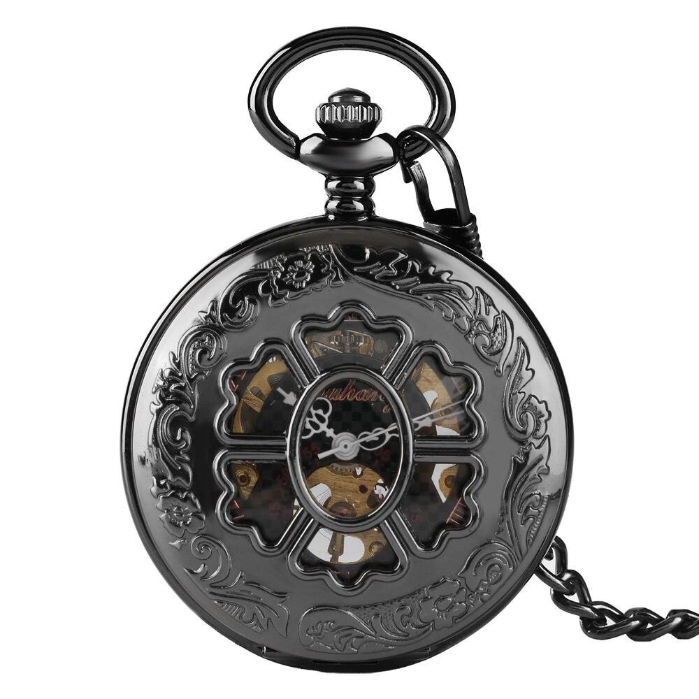 Vintage Watch New Mechanical Quartz Pocket Watches For Men Women Flower Pendant Dial Open Face Flower Roman Numerals  Gift