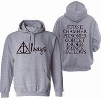 Fashion Mens Winter Always Stone Chamber Prisoner Goblet Hoodies Brand Clothing Pullover Deathly Hallows Triangle Sweatshirts