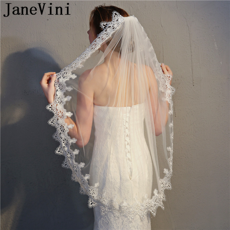 Styles Of Wedding Veils: JaneVini New Style Lace Edge Ivory Bridal Veil One Layer