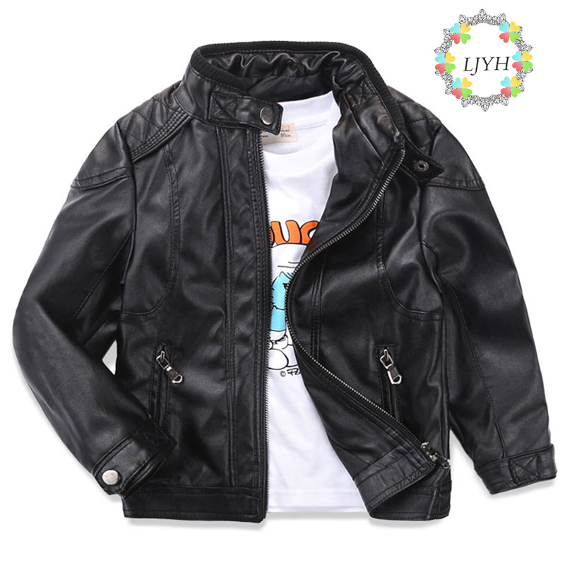 3-14T Baby Boy Clothes Rock Child Kids Zipper Biker Jackets Blazer Faux Leather Toddler Big Boys Moto Jackets&Coats Autumn