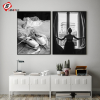 Черно-белые оконные Плакаты для девочек, печать на холсте для ножных танцев, балета, настенные художественные картины для гостиной, домашни...