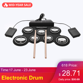 Compact Size USB Digital Roll-Up Drum Set Electronic Drum Silicon 7 Drum Pads with Drumsticks Foot Pedals for Beginners Kids