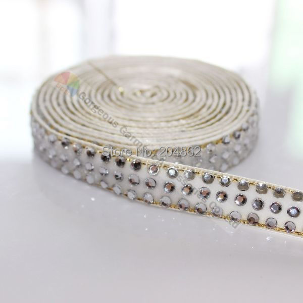 10yards 3 rows White Velvet Clear Crystal Diamante Tape Rhinestone Ribbon Gold Edge For DIY Browbands Garment Hair Decoration